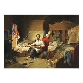President Lincoln Writing Proclamation of Freedom Custom Invites
