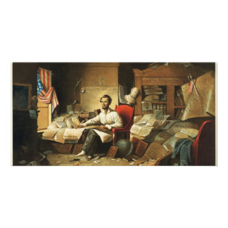 President Lincoln Writing Proclamation of Freedom Photo Cards