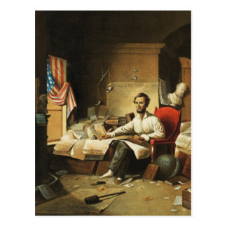 President Lincoln Writing Proclamation of Freedom Postcard