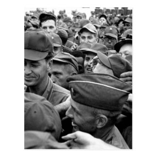 President Lyndon B. Johnson greets American troops Postcard