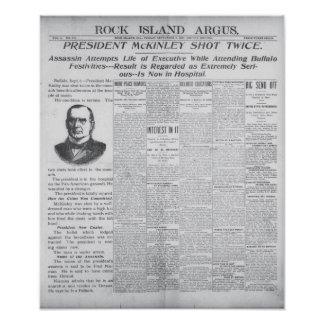 President McKinley Assassinated - Newspaper Posters