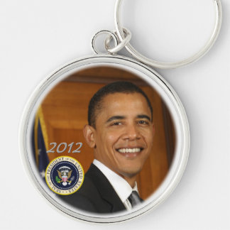President Obama 2012 Campaign Launch Silver-Colored Round Keychain