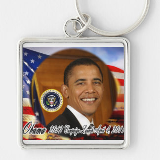 President Obama 2012 Campaign Launch Silver-Colored Square Keychain