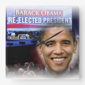 President Obama 2012 Re-election Square Wall Clock
