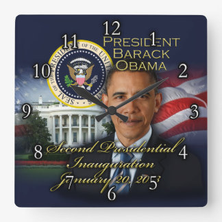 President Obama 2nd Inauguration Square Wall Clock