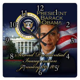 President Obama 2nd Inauguration Square Wall Clock