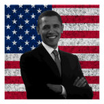 President Obama and The American Flag Poster