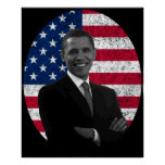President Obama and The American Flag Print