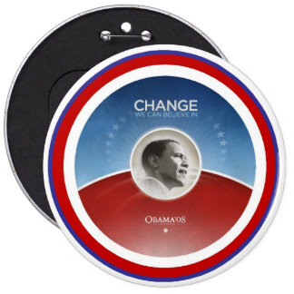 "President Obama CHANGE Colossal 6"" Button"