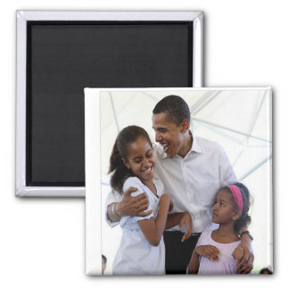 President Obama Father & Daughters Refrigerator Magnet