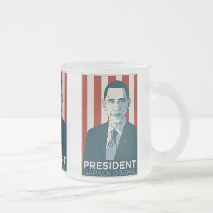 President Obama Frosted Glass Coffee Mug