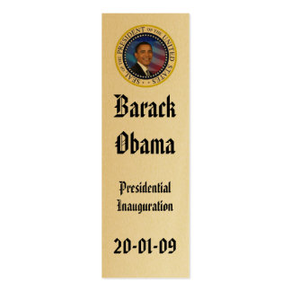 President Obama  Inauguration Keepsake Bookmark Double-Sided Mini Business Cards (Pack Of 20)