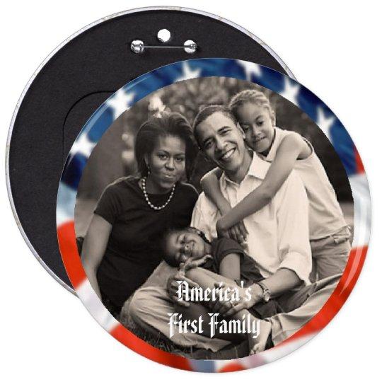 """President Obama Keepsakes First Family 6"""" Button"""
