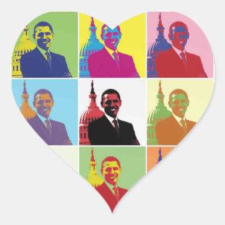 President Obama Pop Art Heart Sticker