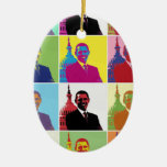 President Obama Pop Art Double-Sided Oval Ceramic Christmas Ornament