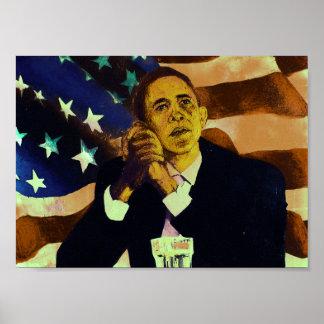 President Obama portrait, American flag Posters