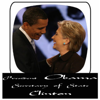 President Obama Sec. of States Clinton Standing Photo Sculpture