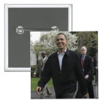 President Obama walks to the basketball courst 2 Inch Square Button