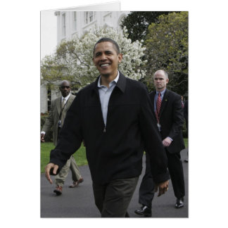 President Obama walks to the basketball courst Card