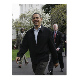 President Obama walks to the basketball courst Postcard