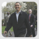 President Obama walks to the basketball courst Square Sticker
