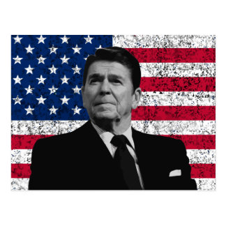 President Reagan and The American Flag Postcard
