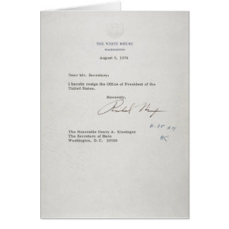 President Richard M. Nixon Resignation Letter Card