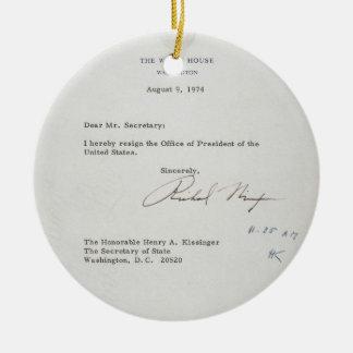 President Richard M. Nixon Resignation Letter Ceramic Ornament