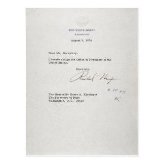President Richard M. Nixon Resignation Letter Postcard