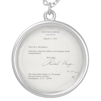 President Richard M. Nixon Resignation Letter Silver Plated Necklace  Nixon Resignation Letter
