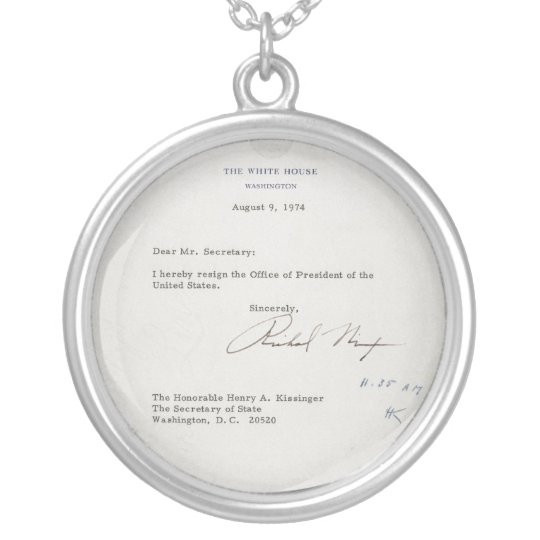 President Richard M. Nixon Resignation Letter Silver Plated Necklace