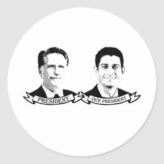 PRESIDENT ROMNEY AND VICE PRESIDENT RYAN - png Round Stickers