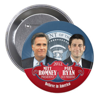President Romney and Vice Ryan 3 Inch Round Button