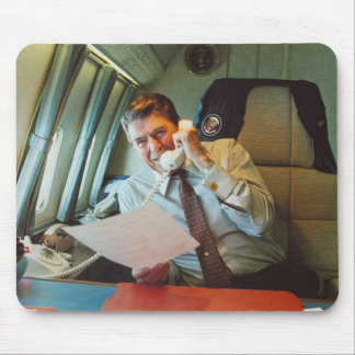 President Ronald Reagan On Air Force One Mouse Pad