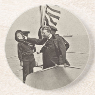 President Teddy Roosevelt on Algonquin Bull Moose Drink Coaster