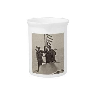 President Teddy Roosevelt on Algonquin Bull Moose Drink Pitcher