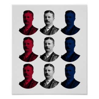 President Teddy Roosevelt - Red, White, and Blue Poster
