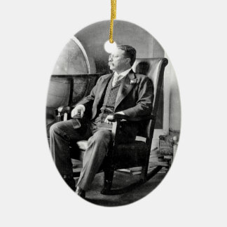 President Teddy Roosevelt Vintage White House Double-Sided Oval Ceramic Christmas Ornament