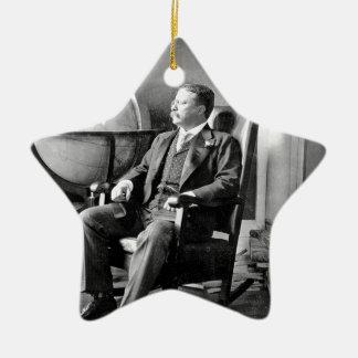 President Teddy Roosevelt Vintage White House Double-Sided Star Ceramic Christmas Ornament