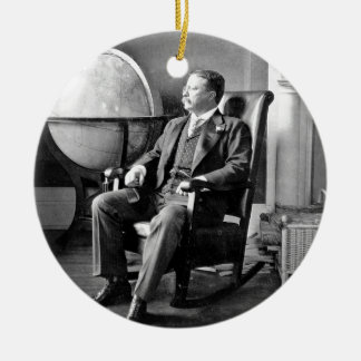 President Teddy Roosevelt Vintage White House Double-Sided Ceramic Round Christmas Ornament
