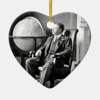 President Teddy Roosevelt Vintage White House Double-Sided Heart Ceramic Christmas Ornament