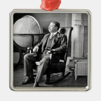 President Teddy Roosevelt Vintage White House Square Metal Christmas Ornament