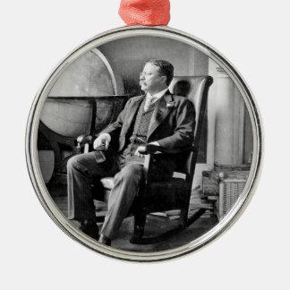 President Teddy Roosevelt Vintage White House Round Metal Christmas Ornament