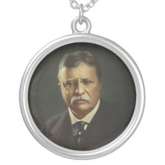 President Theodore Roosevelt by Forbes Lithography Round Pendant Necklace