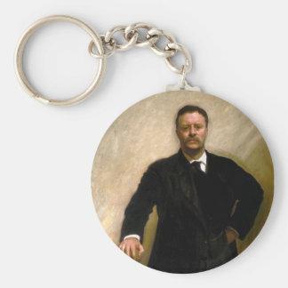 President Theodore Roosevelt John Singer Sargent Basic Round Button Keychain