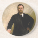 """President Theodore Roosevelt John Singer Sargent Drink Coaster<br><div class=""""desc"""">President Theodore Roosevelt by John Singer Sargent Image reproduction rights can be found in the link near the bottom of this description. This image has been digitally filtered to reduce blurring. This effect is more noticeable the larger the image is. Sign up to Mr. Rebates for FREE and save 12%...</div>"""