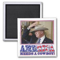 President Trump American Cowboy Magnet