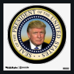 "President Trump Photo Presidential Seal Wall Decal<br><div class=""desc"">Round circular logo seal of the President of the United States with gold color and photo picture of Donald Trump in the center.  A wonderful keepsake memento of the elections.</div>"
