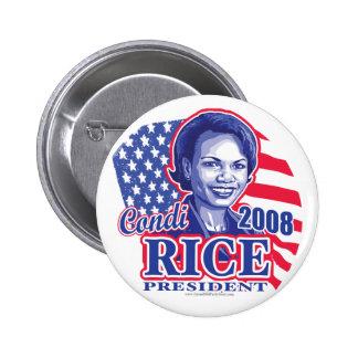 Presidente 2008 botón de Condi Pin Redondo De 2 Pulgadas