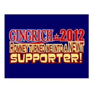 Presidente 2012 de Gingrich dado vuelta en diseño Tarjetas Postales